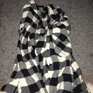 White and black stripped flannel
